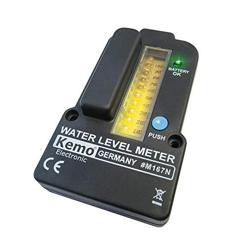 Kemo M167N Füllstandsanzeige für Wassertanks batteriebetrieben. Fernmessung bis 100 Meter. Für Regenwasser, Klärkammern, Gülletanks. Mit LED Anzeigen