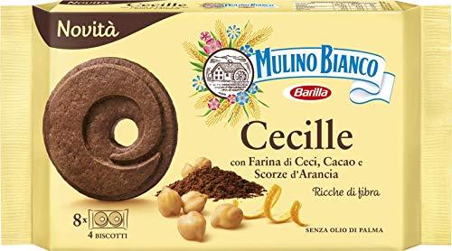 Mulino Bianco Biscotti Frollini Cecille, con Farina di Ceci, Cacao e Scorze d'Arancia, Ricche di Fibre, Senza Olio di Palma, Ottimi a Colazione, 220 gr