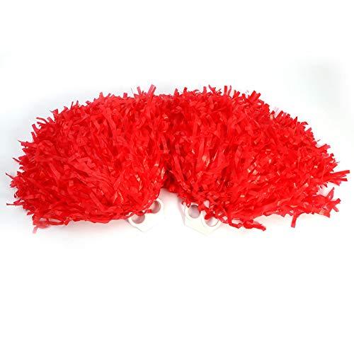 DAUERHAFT Accesorios de Baile elsticos 2 Piezas Poms para Fiestas(Red)