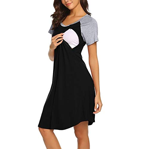 Womens Nursing Nightgowns Voor Borstvoeding 3 In 1 Loon Delivery Robe Summer Maternity Jurk (Color : Black, Size : S)