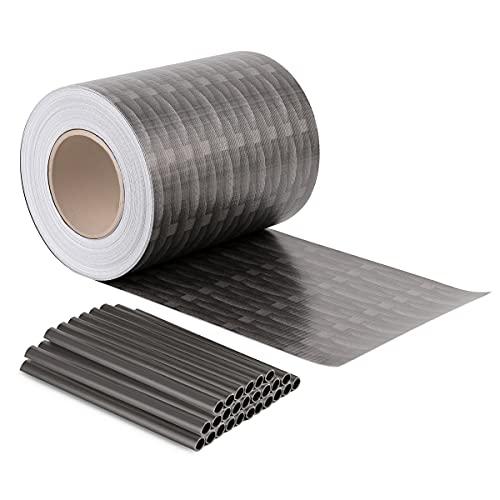Sekey PVC Sichtschutzstreifen Rolle Zaunfolie Blickdicht Anti-UV Wetterfest und Anti-Fading Windschutz für Doppelstabmatten Zaun mit 26 x Befestigungsclips 19cm x 50m Rattan-Anthrazit