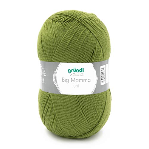 Gründl 2611-140 Big Mamma - Lana a tinta unita, acrilico, colore: verde erba, 29 x 16 x 12 cm