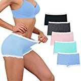 Womens Lace Boyshort Panty Seamless Boxer Panties No Show BoyShorts Panty Breathable Stretch Boxer Briefs for Ladies 5 Pack