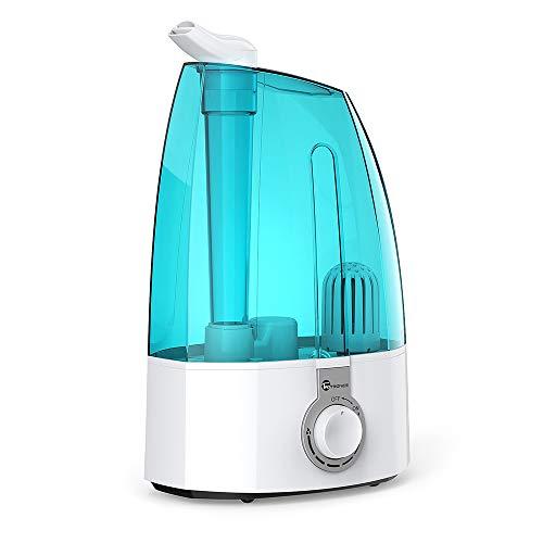 Humidificador Ultrasónico 3,5L TaoTronics Humidificador Bebé de Vapor Frío, Control Clásico Dial, 30W, Gran capacidad, filtro Extra de cerámica fina, 360° rotativo, Azul Hielo