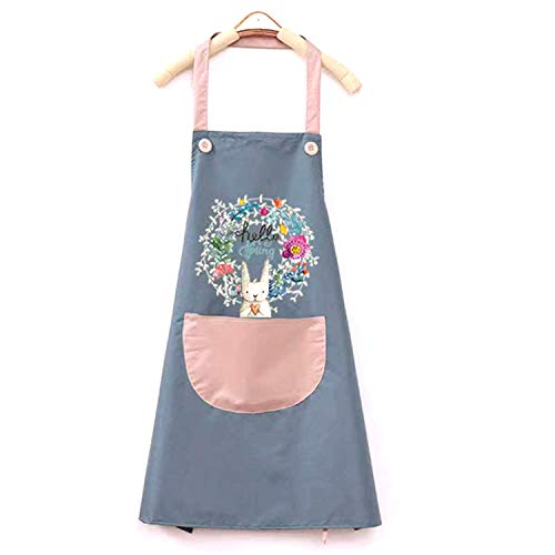 HONGDelantal de cocina impermeable, lindo delantal con estampado de conejo con bolsillos, utilizado para cocinar barbacoa en restaurantes de jardinería,