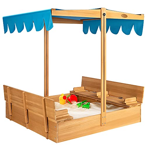 VIVOHOME 47 Inch x 47 Inch Height Adjustable Covered Wooden Sandbox with Rotatable UV-Resistant Canopy 2 Foldable Bench Seats Play Station for Home Backyard Beach Outdoor