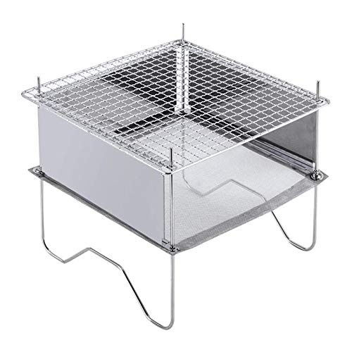 energeti Folding Campfire Grill, Portable Outdoor Camping Fire Pit Stainless Steel Heavy Duty Grill Gate With Carrying Bag