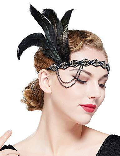 Coucoland 1920s Hoofdband pauw veer dames jaren 20 stijl flapper Charleston veer haarband Great Gatsby dames carnaval carnaval kostuum haaraccessoires