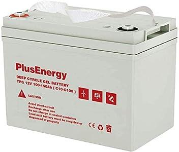 PlusEnergy Bateria GEL12V TPG150AH 100Ah (C10) 150Ah(C100) Ideal para Autocaravana,Caravana,Barco y instalación Solar