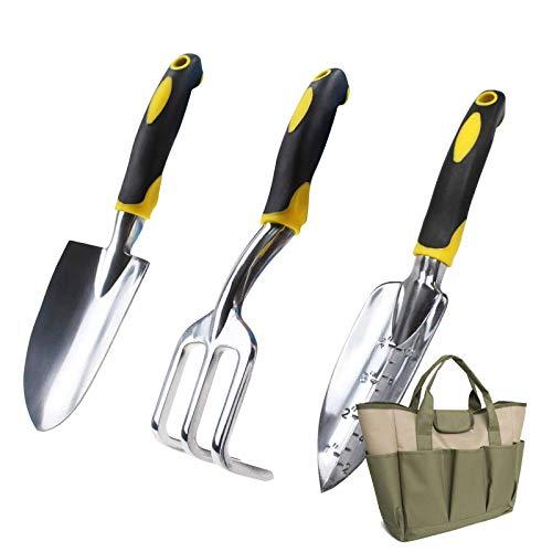 GRTBNH Kit de JardineríA de Alta Resistencia, 4 Herramientas de PlantacióN Manual de Aluminio para JardíN con Bolsa de Almacenamiento, Asas ErgonóMicas, Regalos JardineríA para Hombres y Mujeres