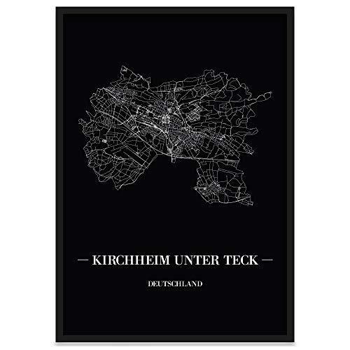JUNIWORDS Stadtposter, Kirchheim unter Teck, Wähle eine Größe, 30 x 40 cm, Poster mit Rahmen, Schrift A, Schwarz