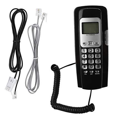Teléfono con cable montado en la pared/teléfonos fijos con pantalla LCD Mes Día Hora y Minuto/Soporte FSK y DTMF Dual System Call Number Display/for Home Office Company Hotel (NEGRO)