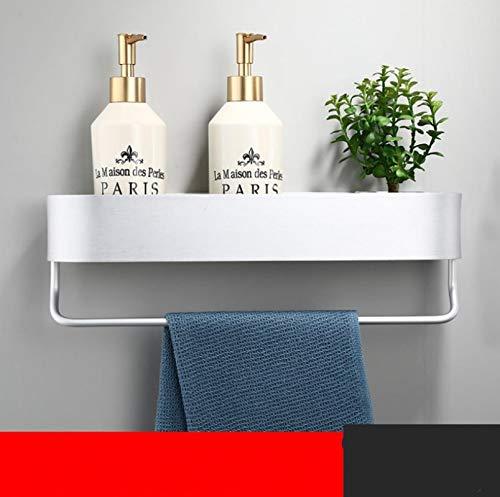 Estante de esquina de aluminio plateado estantes de baño de cocina estante de pared estante de ducha estante de almacenamiento toallero barra de accesorios de baño 40 cm longitud 40 cmplataWithbar
