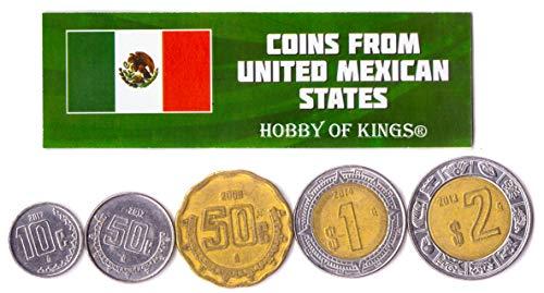 5 Monedas Diferentes - Moneda extranjera Mexicana Vieja y Coleccionable para coleccionar Libros - Conjuntos únicos de Dinero Mundial - Regalos para coleccionistas