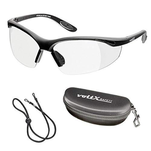 voltX 'Constructor' Schutzbrille Volle Linsenvergrößerung (nicht bifokal) +2,00 Dioptrien– farblos, LESERSCHUTZBRILLE Vergrößerung linse Schutzbrille mit Lesehilfe + Schutzhülle + UV400 Linse