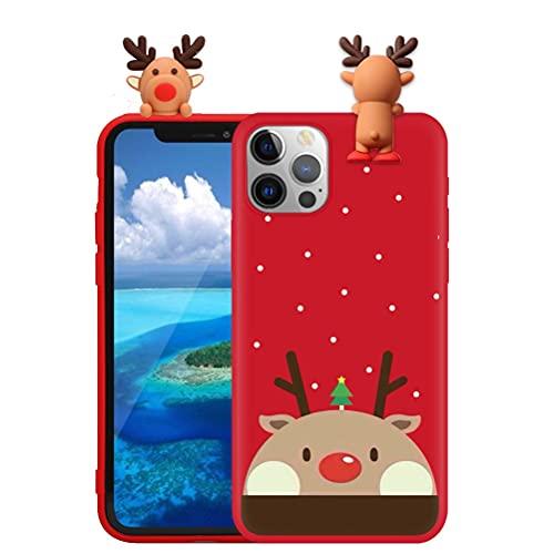 Pnakqil Custodia per Apple iPhone 12 Mini 5,4' con 3D Motivo Natalizio Bambola Modello, Antiurto Ultrasottile Morbido TPU Silicone Christmas Cover per iPhone 12 Mini, Cervo 05