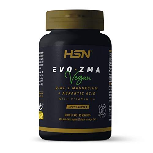 ZMA Zinc Magnesio Vitamina B6 de HSN Evozma | Mejora el Entorno Hormonal elevando los Niveles de Testosterona Naturalmente | Vegano, Sin Gluten, Sin Lactosa, 120 Cápsulas Vegetales