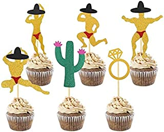 Lnlofen Final Fiesta Bachelorette Party Decorations, 36pcs Bridal Shower Party Cake Topper Supplies with Cactus Man Bridal...