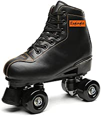 Exgingle Adult Roller Skates High Top Indoor Outdoor Quad Skates Black 6 M US Women