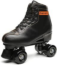 Exgingle Adult Roller Skates High Top Indoor Outdoor Quad Skates Black 10 M US Women