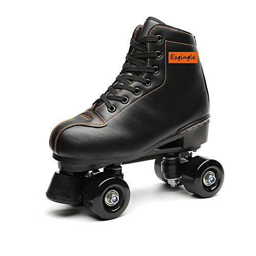 Exgingle Adult Roller Skates High Top Indoor Outdoor Quad Skates Black 10 M US Women
