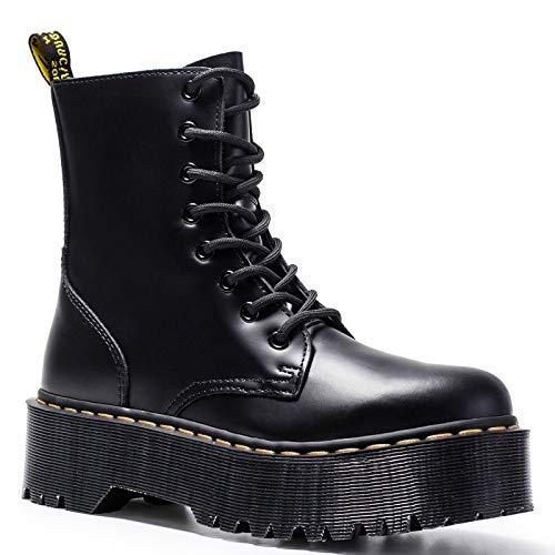 ACWTCHY lederen enkellaarzen voor vrouwen Dr motorlaarzen vrouwen Platform laarzen voor Martin laarzen dikke hak winter schoenen laarzen