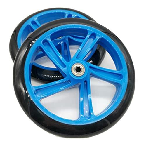 Heritan 2 piezas rueda de scooter 200 mm material PU rueda espesor 30 mm ABEC-7 rodamientos accesorios scooter scooter, color azul
