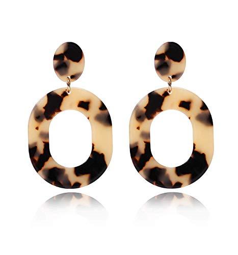 Acrylic Earrings For Women Girls Statement Geometric Earrings Resin Acetate Drop Dangle Earrings Mottled Hoop Earrings Fashion Jewelry (Leopard)