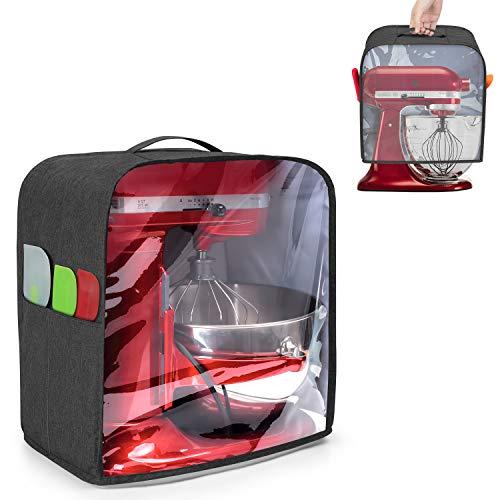 Luxja Transparenter Front-Panel-Staubschutz, kompatibel mit KitchenAid Mixern, Staubschutz mit Griff oben für Standmixer und extra Aufsätzen (passend für 4,5- und 5-Quart Standmixer), schwarz