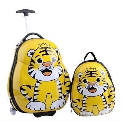 Mdsfe HOT 2PCS / Set child anime School bag boy luggage animal 17 inch cartoon Rolling suitcase kids travel trolley case Boarding box - green