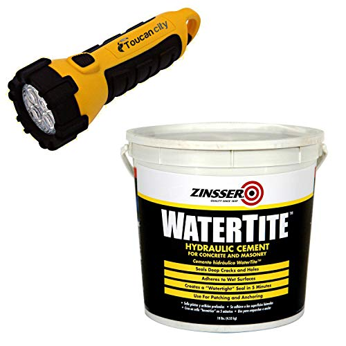 Toucan City LED Flashlight and Zinsser 10 lbs. Watertite Waterproofing Hydraulic Cement (4-Pack) 5071