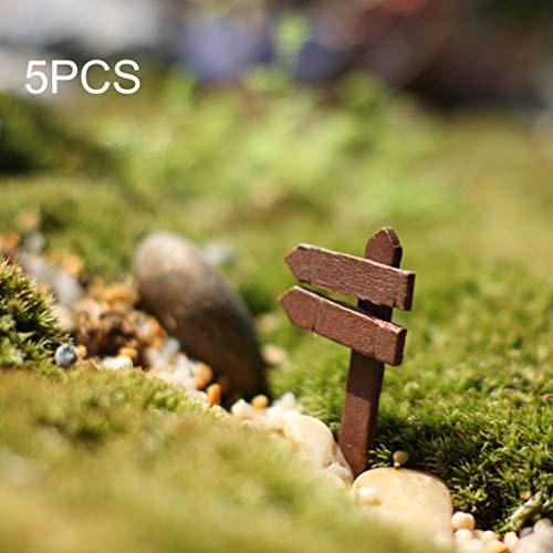 5pcs mini clôtures en bois poteau indicateur jardin ornement bricolage plante étiquettes décor de paysage micro-paysage bricolage ornements multi-viande en bois ornements livraison de couleurs aléatoi
