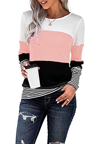 KINGFEN T-Shirt Damen Locker Pullover Strick Lang Blusen Damen Winterpullover T-Shirts Longbluse Strickpulli Langer Bluse Damen Langarm Sweatshirts Rosa M