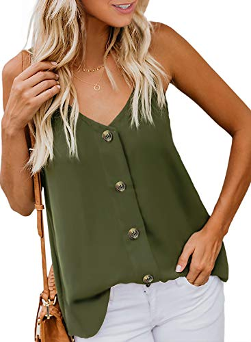 BLENCOT Womens Ladies Sexy V Neck Spaghetti Strap Tank Tops Solid Flowy Sleeveless Blouses Shirts Green S