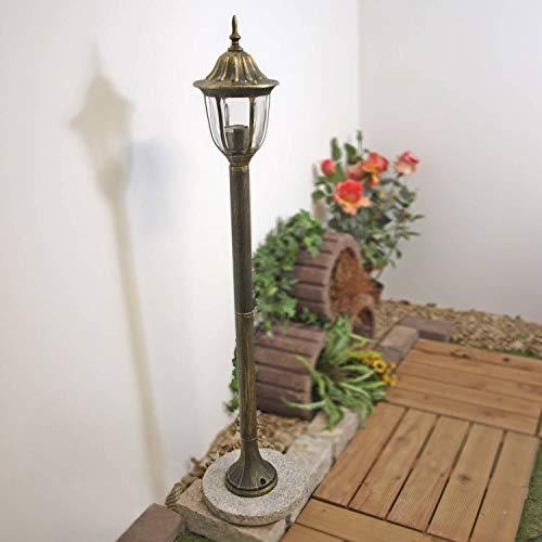 Rustikale Stehlampe Außen Gold Antik wetterfest E27 1,2m hoch Gartenbeleuchtung Balkon Hof Terrasse