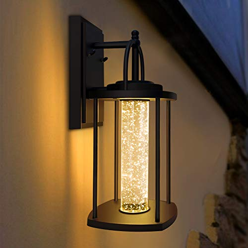 PARTPHONER LED Wall Sconce, Modern Porch Light with Crystal Bubble Glass, Outdoor Indoor Light Fixtures Wall Mount 10W, 540LM, 3000K for Front Door, Garage, Stairway, Living Room