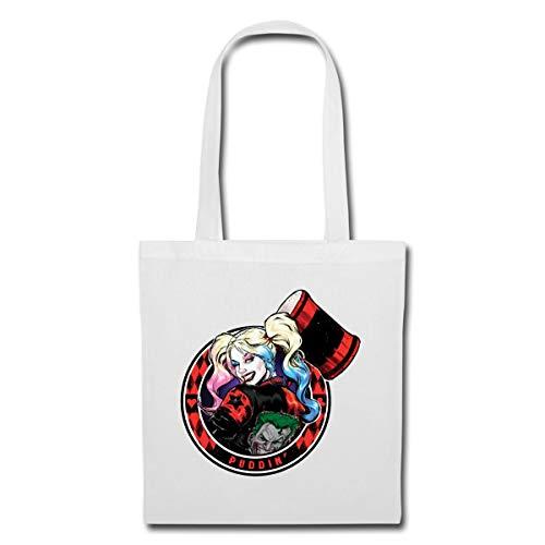 Spreadshirt Harley Quinn Puddin' Stoffbeutel, Weiß