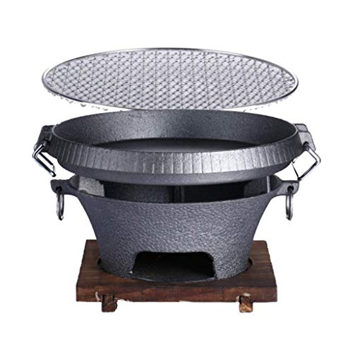 LS2 Fire Pits Campfire grill, portable cooking charcoal stove, cast iron material with even heat conduction and easy cleaning, with grill + wooden heat insulation chassis