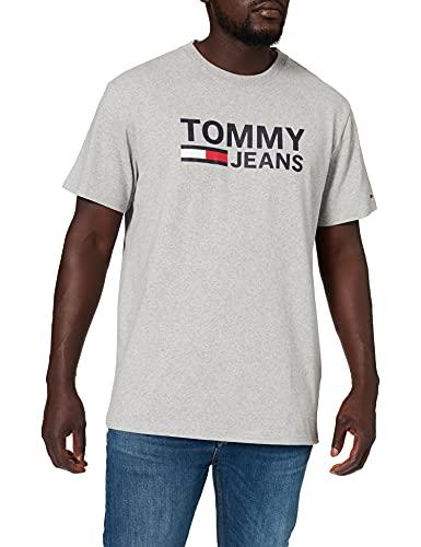 Tommy Jeans Herren TJM TOMMY CLASSICS LOGO TEE Freizeithemd, Grau (Lt Grey Htr 038), Medium (Herstellergröße:M)
