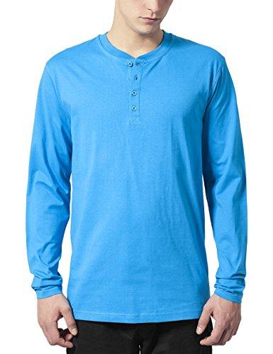 Urban Classics Basic Henley L/S Tee Sweat-Shirt, Turquoise, Medium Homme