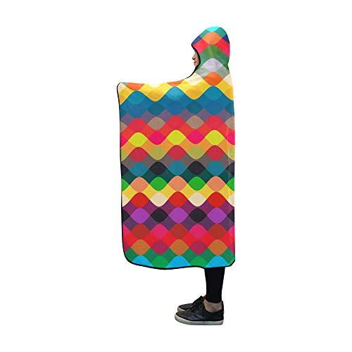 Rtosd Mit Kapuze Decke geometrische Zickzack Decke 60 x 50 Zoll Comfotable Hooded Throw Wrap