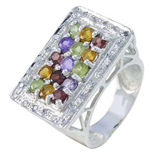 Joyas Plata Real Gemstones Round Shape Multi Stone Faceted Multi Stone ring - 925 Sterling Silver Multi Color Multi Stone Ring - June Birth Gemini Astrology Real Gemstones Ring