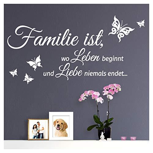 Grandora Wandtattoo Spruch Familie ist, Wo Leben Beginnt und Liebe Niemals endet. I Weiß (BxH) 80 x 40 cm I Wohnen Schmetterling Wandsticker W5547