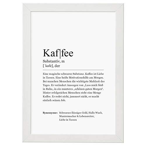 Ritter Mediendesign Bild Kunstdruck im Rahmen Worterklärung Definition Synonym Poster Druck Deko Geschenkidee Din A4 (Definition: Kaffee, Din A4)