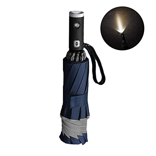 M-1 Travel Umbrella with LED Flashlight Handle Inverted Umbrella The Fully Automatic Business Reverse Umbrella Features The Luminous