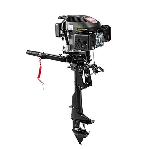 HANGKAI Outboard Motor,6 HP 4-Stroke Outboard Motor Engine Fishing Boat Motor Air Cooling System Durable Cast Aluminum Construction for Superior Corrosion Protection