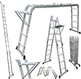Champion Ladders Aluminium Multipurpose 4 x 4 Combination Ladder with Top Plates and Working Shelf, 470 cm (Silver)
