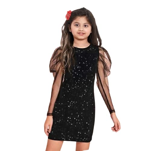 J.B.COLLECTION Kids Midi Bodycon Party Dress for Girls (Black, 11-12 Years)