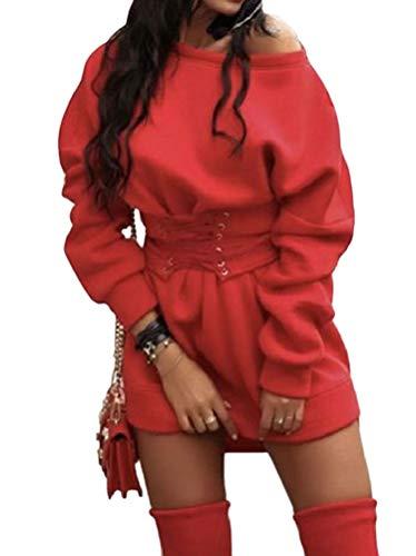 Minetom Herbst Winter Damen Kleider Oberteile Langarm Sweatshirt Tuniken Pullover Sexy Sweatshirt Blusenkleid Minikleid Trägerlos Gürtel Partykleid Rot 40