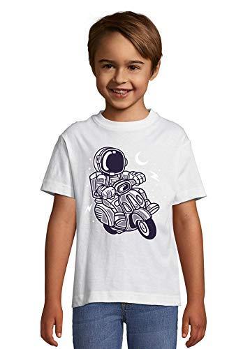 Cartoon Styled Astronaut Scooter Night Sky Kid's Crew Neck T-Shirt